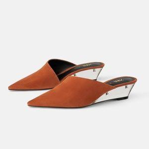 Zara Leather Leather Wedges with Methacrylate Heel